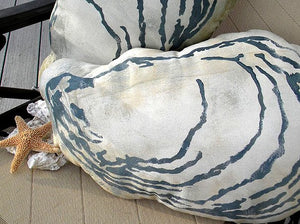Hand Painted Indoor/Outdoor Oyster Pillow - Nautical Luxuries