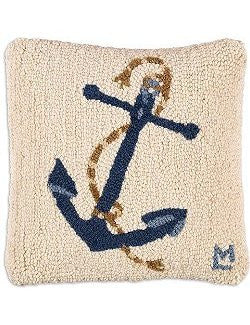 Classic Marine Anchor Hooked Wool Accent Pillow - Nautical Luxuries