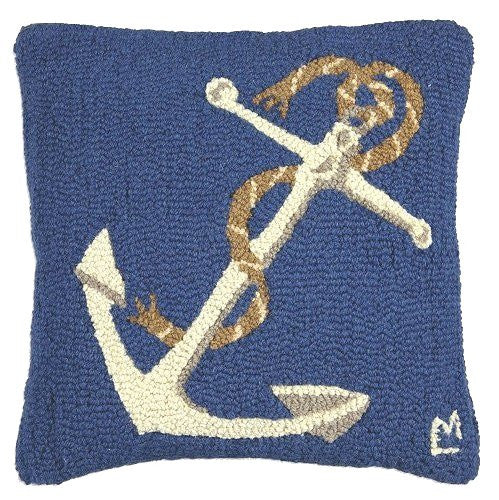 Classic Marine Blue Anchor Hooked Wool Accent Pillow