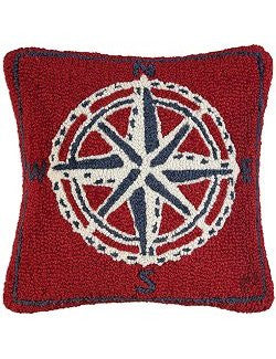Vintage Compass Rose Hooked Wool Pillow
