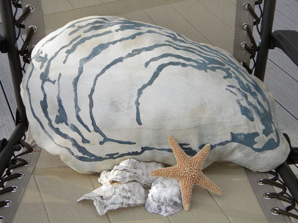 Hand Painted Indoor/Outdoor Oyster Pillow