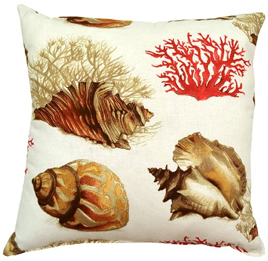 brown seashells pillow