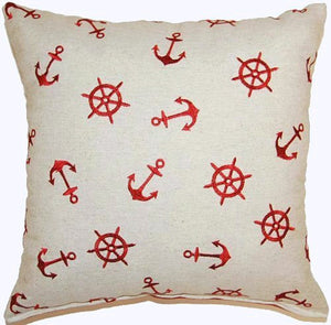 Embroidered Anchors Throw Pillows - Nautical Luxuries