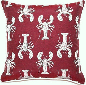 New England Lobster Parade Accent Pillows - Nautical Luxuries