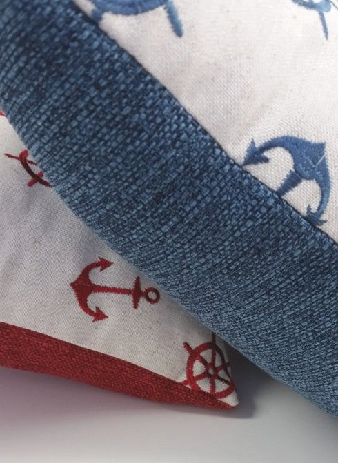 Embroidered Anchors Throw Pillows