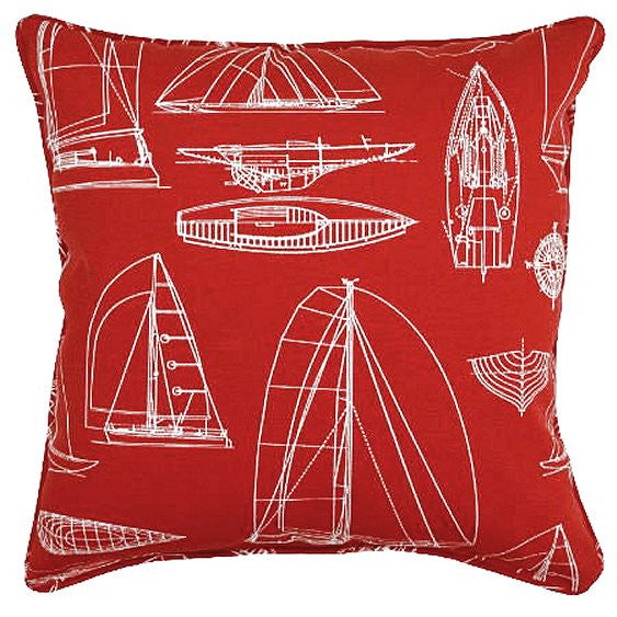 sailboat pillow red