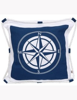 Life Ring Roped Compass Rose Pillow - Nautical Luxuries
