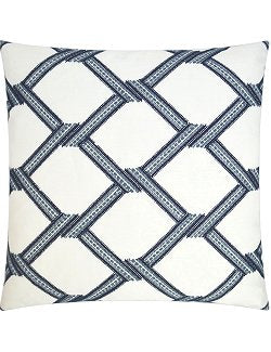 Embroidered Indigo Net Weave Pillow - Nautical Luxuries