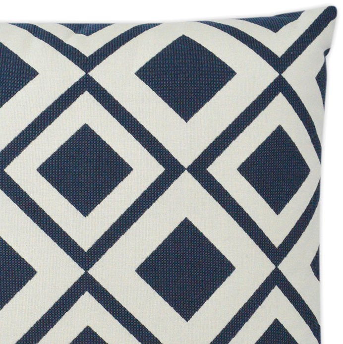 Navy Diamond Block Outdoor Pillow - Nautical Luxuries