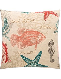 coastal theme pillow sea life coral turquoise