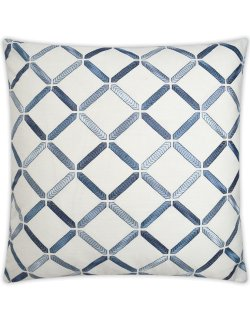Modern coastal decor pillow white blue
