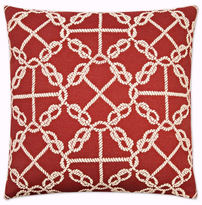 nautical rope pillow red