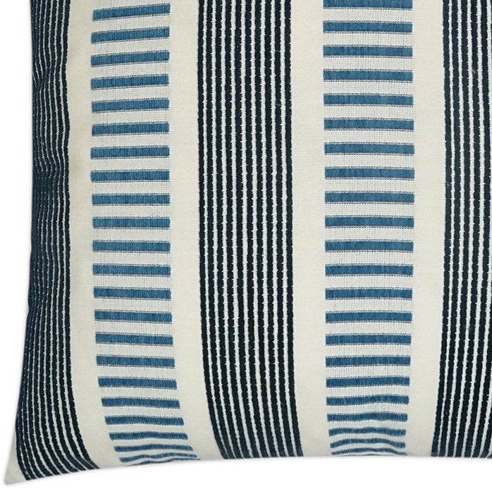 Contempo Neutrals Outdoor Pillows/Compound Stripes Indigo - Nautical Luxuries