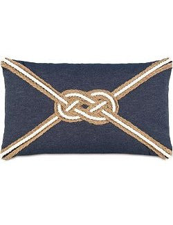 Bosun's Nautical Collection Denim Knot Lumbar Pillow - Nautical Luxuries