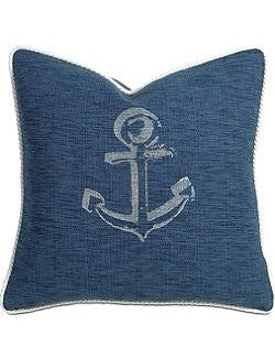 Block Print Anchor Pillows - Nautical Luxuries
