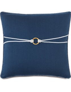 Knotted Bamboo Ring Linen Accent Pillow - Nautical Luxuries