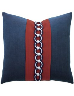 Rope Chain Trim Linen Accent Pillow