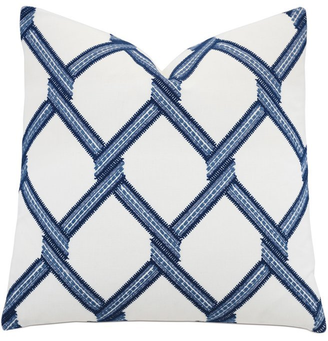 Blue Lattice Accent Pillow - Nautical Luxuries