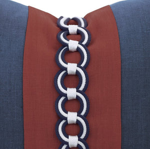 Rope Chain Trim Linen Accent Pillow - Nautical Luxuries