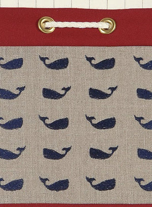 Rope Laced Whale Print Pillow - Nautical Luxuries