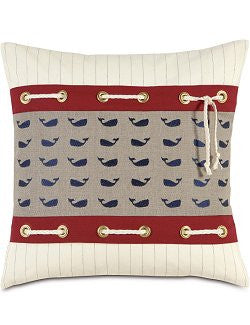 Rope Laced Whale Print Pillow