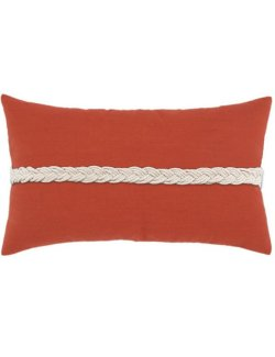 Rope Braid Sunbrella® Outdoor Lumbar Pillow/Coral