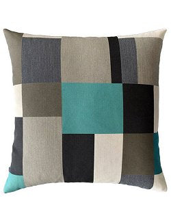 Noir Turquoise Color Blocked Sunbrella® Outdoor Pillows