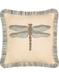 Dragonfly Fringe Trimmed Sunbrella® Outdoor Pillows
