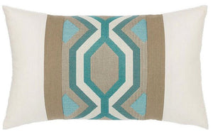Turquoise Geometric Sunbrella® Outdoor Pillows - Nautical Luxuries