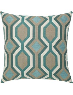 Turquoise Geometric Sunbrella® Outdoor Pillows