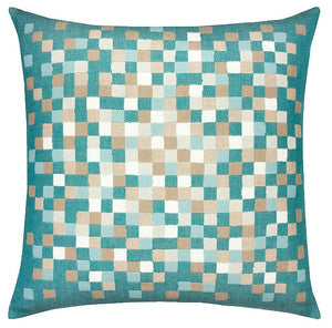 Aqua Water Pixels Sunbrella® Outdoor Pillows - Nautical Luxuries