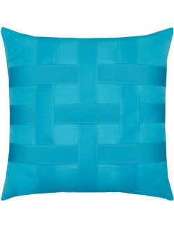 Basket Weave Azure Blue Sunbrella® Outdoor Pillows - Nautical Luxuries