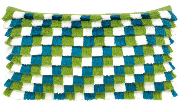 Checkered Fringe Sunbrella® Outdoor Pillow