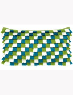 Checkered Fringe Sunbrella® Outdoor Pillow - Nautical Luxuries