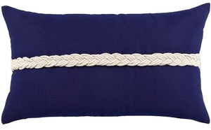 Rope Braid Sunbrella® Outdoor Lumbar Pillow - Nautical Luxuries