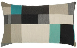 Noir Turquoise Color Blocked Sunbrella® Outdoor Pillows - Nautical Luxuries