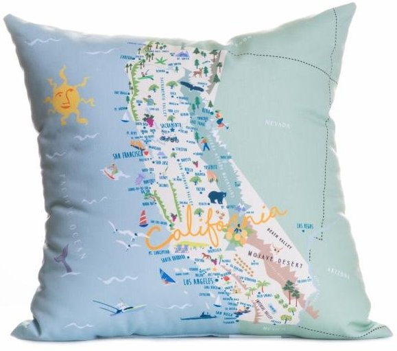 California map indoor outdoor pillow