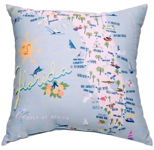 Florida state map indoor outdoor pillow