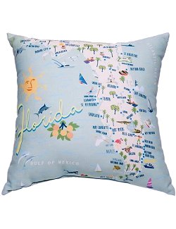 Coastal Florida/California State Accent Pillows