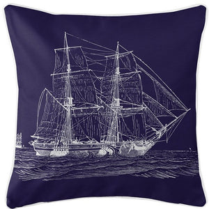 Vintage Seafaring Ship Indoor/Outdoor Pillow - Nautical Luxuries
