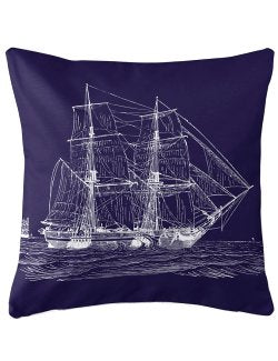 Vintage Seafaring Ship Indoor/Outdoor Pillow