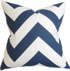 Wide Chevron Stripes Down-Filled Pillows - Nautical Luxuries