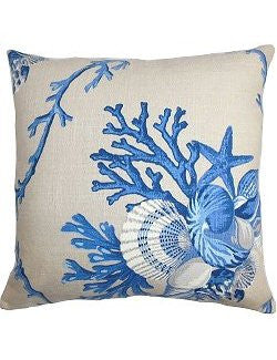 Bountiful Seashells Down-Filled Pillows - Nautical Luxuries