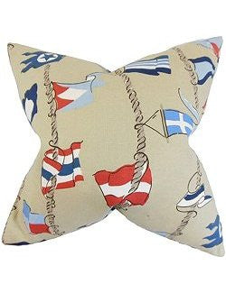 Waving Pennants Down-Filled Pillows - Nautical Luxuries