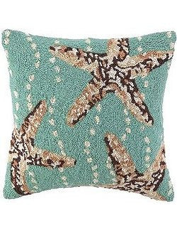 Shore Break Starfish Hooked Wool Accent Pillow - Nautical Luxuries