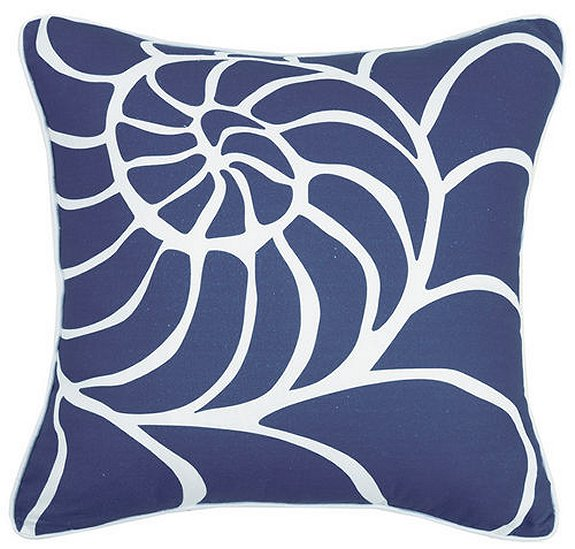 blue and white shell pillow