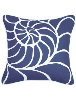 Blue Lagoon Nautilus Shell Print Pillow - Nautical Luxuries