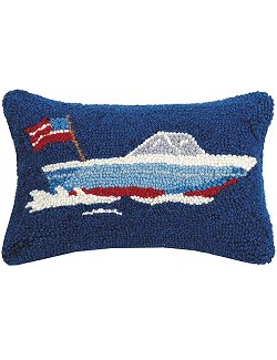 Bay Cruiser Hooked Wool Accent Pillow - Nautical Luxuries