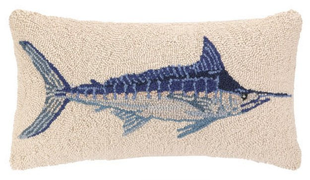 Blue Marlin Hooked Wool Accent Pillow