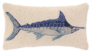 Blue Marlin Hooked Wool Accent Pillow - Nautical Luxuries